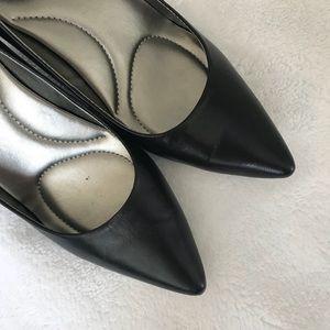 Black Leather Heels 00319